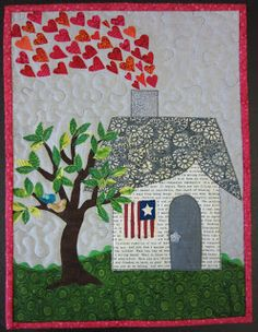 """Story quilt """"Home is where the Heart Is""""))) Hearts by Julie Greenspan of Laguna Niguel, CA. The House Quilt Project. House Quilt Patterns, House Quilt Block, Applique Patterns, Applique Quilts, Quilt Blocks, Small Quilts, Mini Quilts, Quilting Projects, Quilting Designs"""