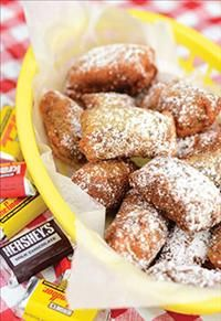 Make Fair Food at Home! Get the recipes here. Deep fried candy bars, green beans, onion rings, donuts, tomato chips, squash balls, bananas, fish, and ice cream