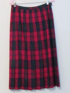 Pendleton Red Plaid Paisley 100% Virgin Wool Long Pleated Skirt Sz 12 USA Pretty  | eBay