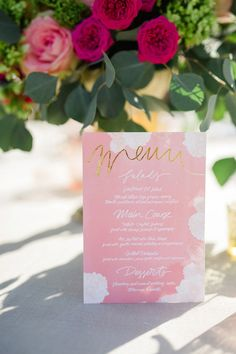 custom menu by @cocorrina      Pink wedding menu