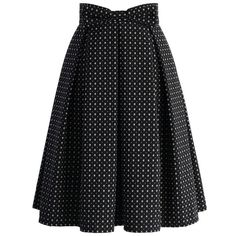 Chicwish Sweet Your Heart Jacquard Midi Skirt in Polka Dots ($47) ❤ liked on Polyvore featuring skirts, black, black knee length skirt, mid calf black skirt, black polka dot skirt, calf length skirts and heart skirt