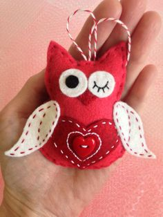 Handcrafted Wool Felt Love Owl with Heart Button Belly - Valentine's Day Gift on Etsy, $12.99
