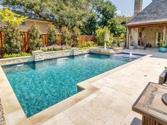 Stunning French style house with a rectangular pool in the bottom .Stunning French style house with a rectangular pool in the bottom with wicker . - Architecture Designs - Architecture attractive floor an Backyard Rectangular Backyard Pool Landscaping, Small Backyard Pools, Backyard Pool Designs, Swimming Pools Backyard, Swimming Pool Designs, Outdoor Pool, Landscaping Ideas, Backyard With Pool, Lap Pools