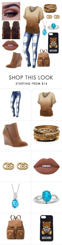 """""""Brown?"""" by moonangel715 ❤ liked on Polyvore featuring Hokus Pokus, Amrita Singh, Gucci, Lime Crime, Ross-Simons, MICHAEL Michael Kors and Moschino"""