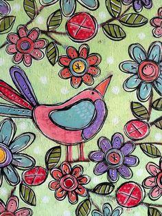 Bonjour douce peu mixte Folk Art Birdy Floral peinture par dishyart Acrylic Painting Flowers, Painting Tips, Indian Paintings, Art Paintings, Free Motion Embroidery, Hindu Art, Hand Painted Signs, Native Art, Tribal Art