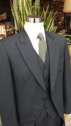 Charcoal grey 3 piece Tailcoat suit with a olive green tie.