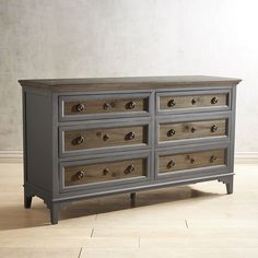 Weston Weathered Oak 6-Drawer Dresser Gray