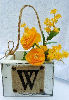 Wood and Burlap Wedding Flower basket, custom monogram letter. $35.00, via Etsy.