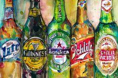 Miller Lite  Guinness  Heineken  Schlitz  Stella by dfrdesign, $23.00