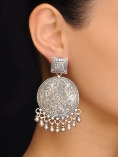 Pair of Floral Silver Earrings Silver Jewellery Indian, Tribal Jewelry, Silver Jewelry, 925 Silver, Sterling Silver, Bridal Jewellery, Silver Cuff, Gold Jewellery, Jewelry Art