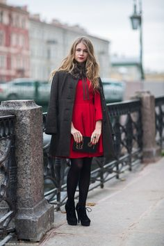 a classy version of Little Red Riding Hood (pictured: Anna) #streetstyle #fashion