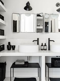 his and her sinks the nordic way in black and white | Bo-bedre.no