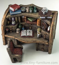 That is a workplace of the dangerous Dark Magister.  Fully painted with acrilic paints. Made of resin. A varnish coat added to avoid scratches in manipulation.