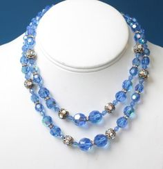 The Vintage Village - View Classified - Blue AB Crystal Two Strand Necklace