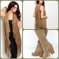 Lovely Suede Vest This popular fringe style vest features a waterfall open front and fringe hem along hem. 92% Polyester, 8% Spandex. (This closet does not trade or use PayPal) Jackets & Coats Vests