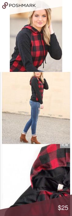 Ivory Gem Boutique | Buffalo Plaid Trendy Hoodie❤️ New with tags. Purchased from the ivory gem boutique stock photos & last photo is mine!❤️ size M. Super trendy for winter! Ivory Gem Boutique Sweaters
