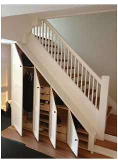 New Staircase Design Ideas - Eingang Shoe Storage Under Stairs, Staircase Storage, New Staircase, Hallway Storage, Stair Storage, Staircase Design, Staircase Ideas, Closet Storage, Entryway Organization