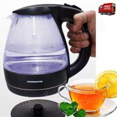 Stylishly-Black-Electric-Kettle-Glass-Body-1-5L-Drink-Watter-Heats-Fast-Cool-New