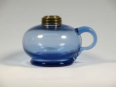 Antique-Blue-Glass-Kerosene-Finger-Lamp