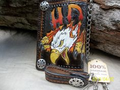Hand Tooled Leather Wallet For Bikers and  Men by POPSLEATHERSHOP, $140.00