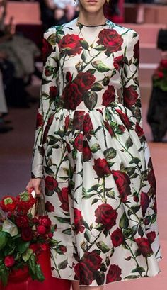 Multicolor Rose Print Long Sleeve Pleat Skater Dress