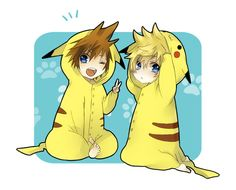 OMG Sora and Roxas IN PIKACHU COSTUMES!!!!!