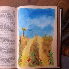 Een tekening in mijn #bijbel bij #psalm32 vers 8! Mijn oog is op je. Ik laat je zien welke weg je moet gaan! Op deze warme septemberdag kan het nog: zomers plaatje van #acrylverf en #gelatos van #fabercastell  #bijbeljournaling #illustratedfaith #biblejournaling De tekst zelf nog een keer opschrijven in de blauwe lucht... Of stempelen!