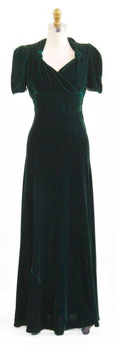 Vintage 1930s Dress Green Silk Velvet Art Deco…: