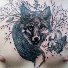 Spectacular black and grey tattoos in the oldschool/arte nouveau style by illustrator and tattooist Jean-Luc Navette.