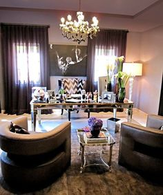 another view of Khloe Kardashian's home office designed by Jeff Andrews via CasaSugar