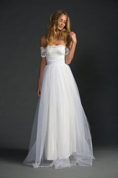 Off the shoulder beach wedding dress | Grace Loves Lace