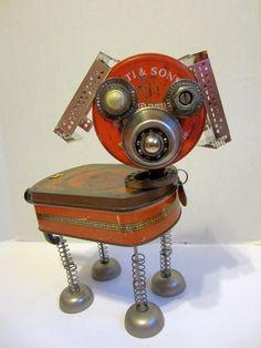 """""""Romeo"""" Dog Bot, a  found object robot by ckudja; Artist Cheri Kudja used a cup…"""