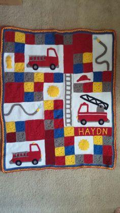 """Crochet Fireman Blanket Inspired by tanyaquiltsinco.blogspot.com """"Fire Truck Fun Quilt"""" June 2014"""