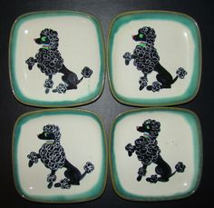 Set of 4 Mid Century Glidden 35 Poodle Pottery Dishes / Plates Green Edge