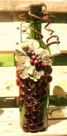 Rustic Wine Country Home Decor Red and Green Wine by booklooks, $22.00 gonna try and make my own with used bottles and my best friend the glue gun..