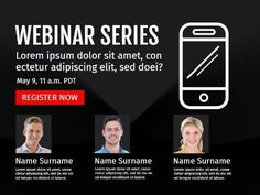 A creative business event template. A dark background with images of people, an illustration of a phone and plenty of space is included to display details on the webinar.