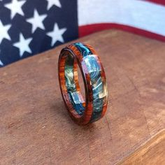 Cocobolo Ring - Wooden ring - Blue Wood Anniversary - Gift - Men's ring - Woman's ring