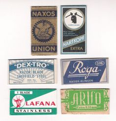 6 vintage SAFETY RAZOR BLADES / lamette da barba / lames de rasoir / LOT #C