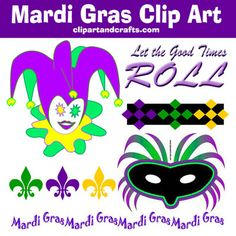 Mardi Gras Clip Art and Borders Good Times Roll, Mardi Gras, Embellishments, Paper Crafts, Clip Art, Collections, Black And White, Big, Holiday