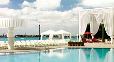Mondrian South Beach Condo Hotel, Miami Florida. Private cabanas make perfect poolside lounging!