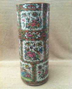 HEIGHT:17 3/4 in. DIAMETER:7 in. ...Sold $665 Ebay...Antique 19C Chinese Rose Medallion Umbrella Porcelain Stand large straight vase