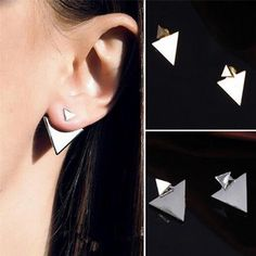 2pc Punk Women Simple Design Triangle Ear Stud Fashion Men Earrings Jewelry Gift #UnbrandedGeneric #Stud