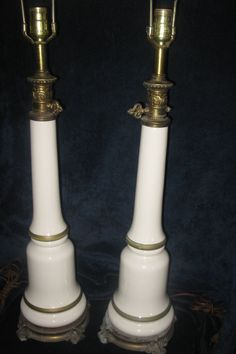 Vintage Empire Style Milk Glass Lamps with Gilt Detail by PoshGuess on Etsy