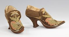 Shoes    Date:      1690–1710  Culture:      European  Medium:      leather, silk  Dimensions:      5 x 8 in. (12.7 x 20.3 cm)  Credit Line:      Brooklyn Museum Costume Collection at The Metropolitan Museum of Art, Gift of the Brooklyn Museum, 2009; Gift of Herman Delman, 1954  Accession Number:      2009.300.1478a, b