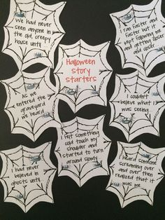 FREEBIE - Halloween Story Starters is a set of 7 printable Halloween story starters to motivate young writers at Halloween.