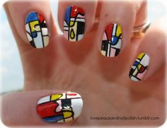 So, these nails are like a Mondrian pattern in pastel colors, with a drip over it that makes the colors pop; like Mondrian colors.