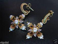 BARBARA BIXBY EARRINGS 18K GOLD DIAMOND PEARL CITRINE CROSS HOOP HONORA LEAVES