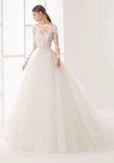 Rosa Clara 2017 Bridal Collection - Designer Wedding Dresses - Hong Kong- long sleeves princess wedding dress with seductive sheer bodice adorned with french lace