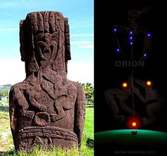 Easter Island star map. Here is another Moai with birdmen and Orion poised in its appropriate place. We will test this all on a star program and see what we find below the horizon where the strange McDonalds' style 'M' is depicted.