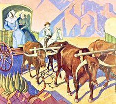 JH Pierneef - Die Groot Trek 1938 - Jacobus Hendrik Pierneef - Wikipedia, the free encyclopedia Nostalgic Images, South African Artists, Like Animals, African History, Western Art, Dark Art, Cover Art, Amazing Art, Moose Art